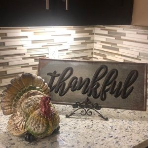 Thanksgiving Fall Metal Sign Stand Glitter Turkey
